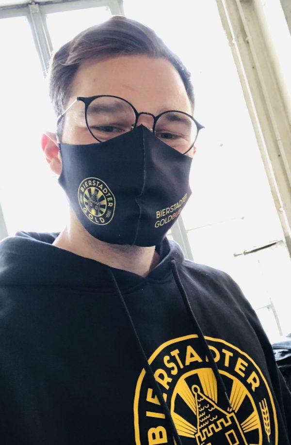 Bierstadter Goldbub Maske Mund Nase Bedeckung Gesicht